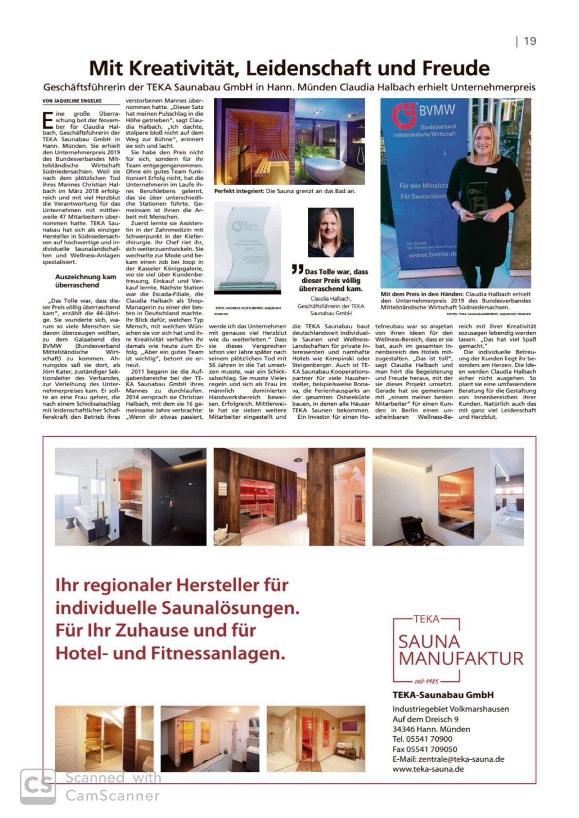 Artikel in der Hessische/Niedersächsische Allgemeine vom 24.12.19